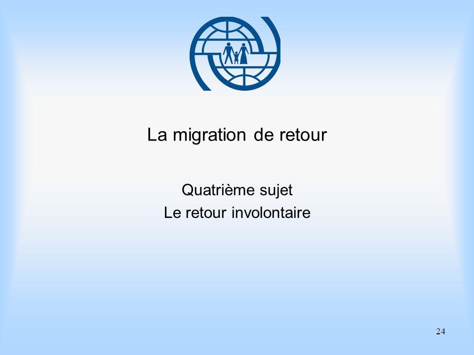24 La migration de retour Quatrième sujet Le retour involontaire
