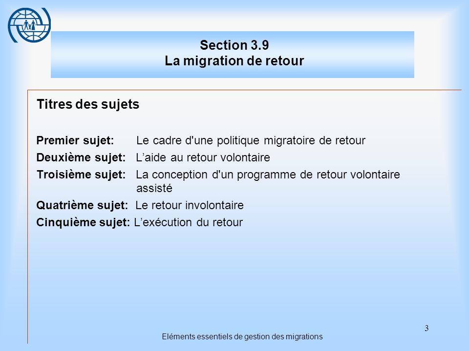 3 Eléments essentiels de gestion des migrations Section 3.9 La migration de retour Titres des sujets Premier sujet: Le cadre d une politique migratoire de retour Deuxième sujet: Laide au retour volontaire Troisième sujet: La conception d un programme de retour volontaire assisté Quatrième sujet: Le retour involontaire Cinquième sujet: Lexécution du retour