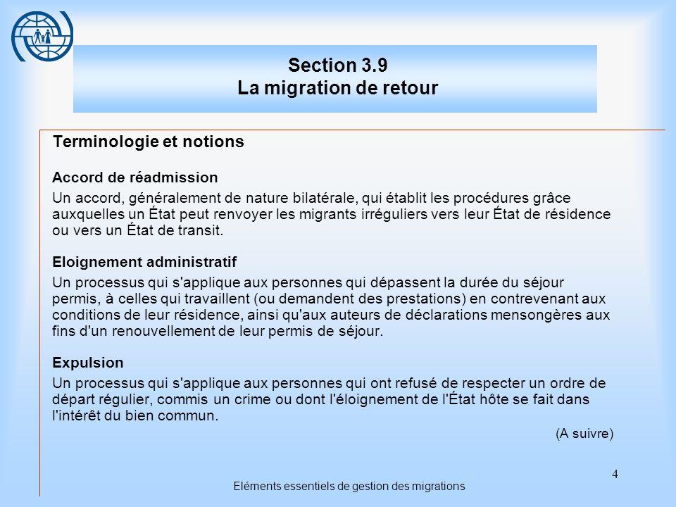 4 Eléments essentiels de gestion des migrations Section 3.9 La migration de retour Terminologie et notions Accord de réadmission Un accord, généralement de nature bilatérale, qui établit les procédures grâce auxquelles un État peut renvoyer les migrants irréguliers vers leur État de résidence ou vers un État de transit.