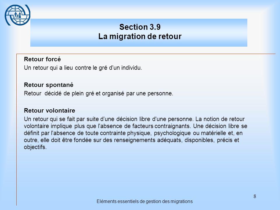 8 Eléments essentiels de gestion des migrations Section 3.9 La migration de retour Retour forcé Un retour qui a lieu contre le gré d un individu.