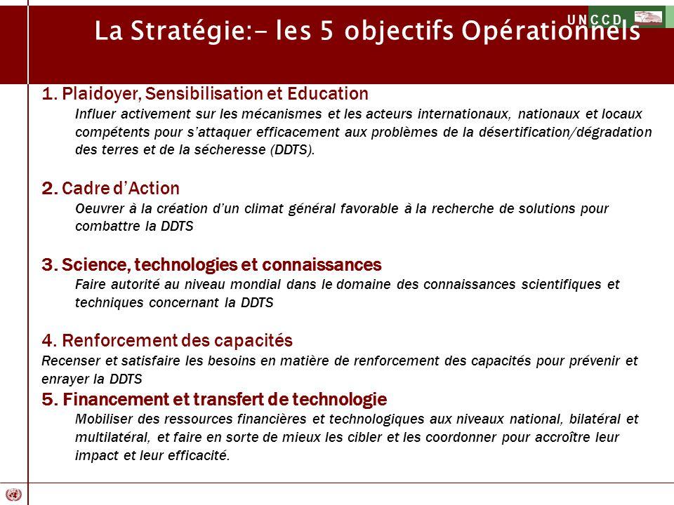 U N C C D La Stratégie:- les 5 objectifs Opérationnels 1. Plaidoyer, Sensibilisation et Education Influer activement sur les mécanismes et les acteurs