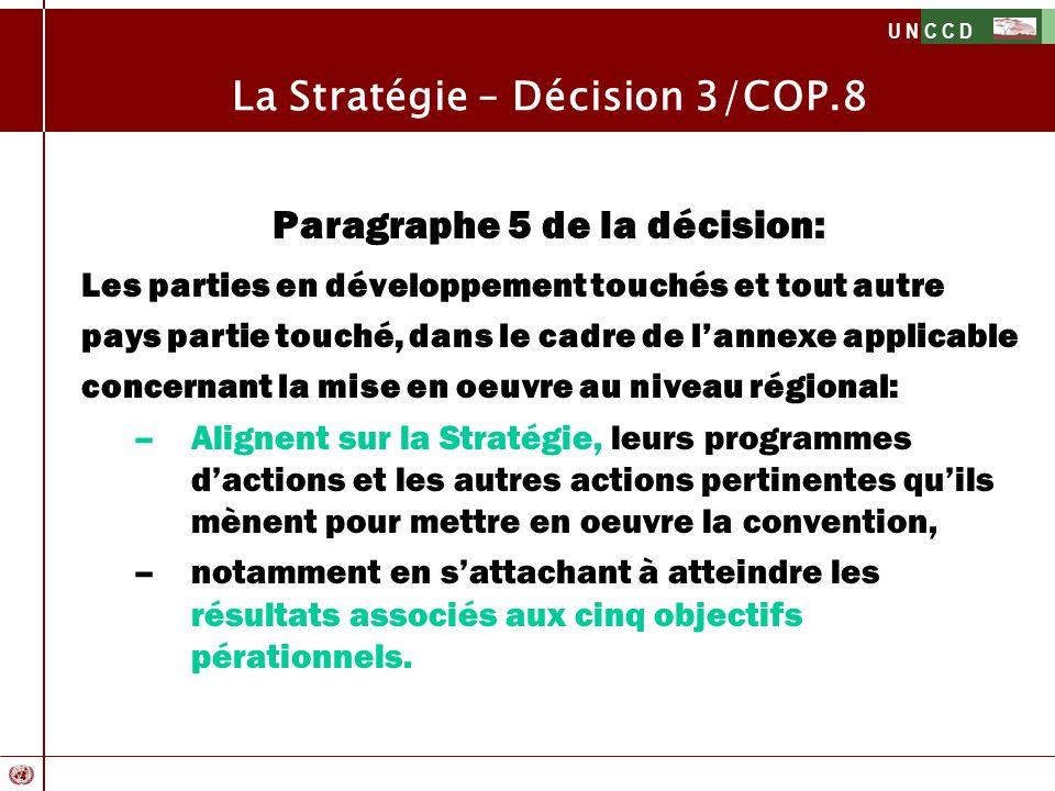 U N C C D La Stratégie – Décision 3/COP.8 Paragraphe 5 de la décision: Les parties en développement touchés et tout autre pays partie touché, dans le