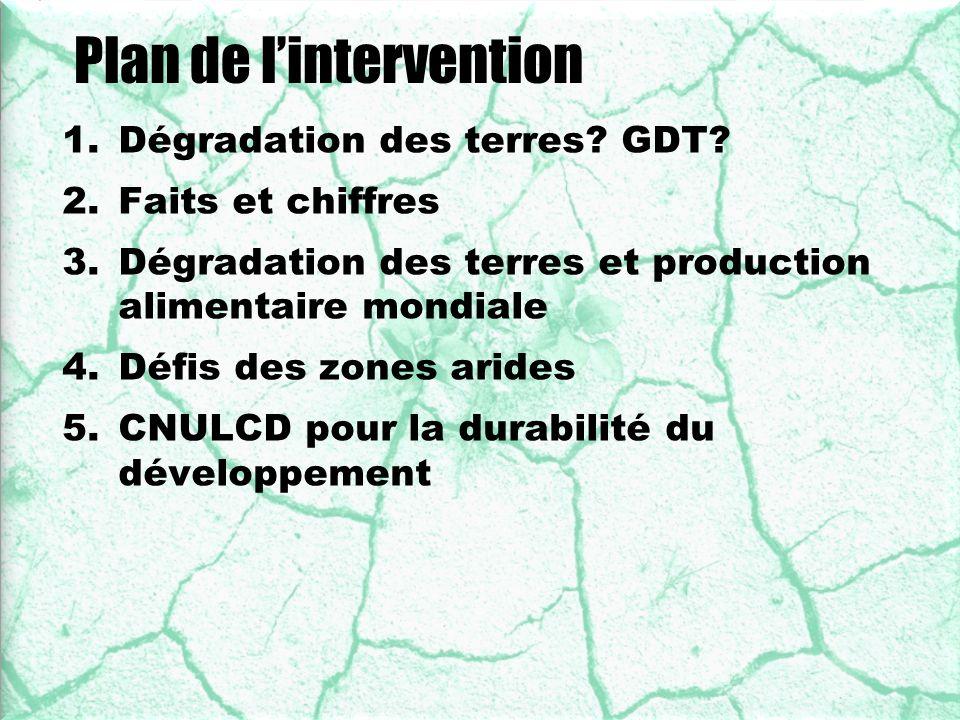 U N C C D Plan de lintervention 1.Dégradation des terres? GDT? 2.Faits et chiffres 3.Dégradation des terres et production alimentaire mondiale 4.Défis