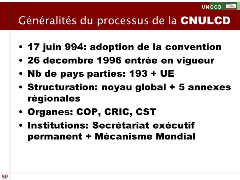 U N C C D Généralités du processus de la CNULCD 17 juin 994: adoption de la convention 26 decembre 1996 entrée en vigueur Nb de pays parties: 193 + UE