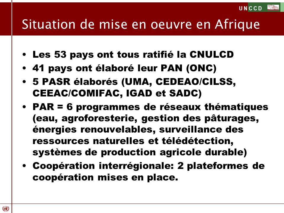U N C C D Situation de mise en oeuvre en Afrique Les 53 pays ont tous ratifié la CNULCD 41 pays ont élaboré leur PAN (ONC) 5 PASR élaborés (UMA, CEDEA