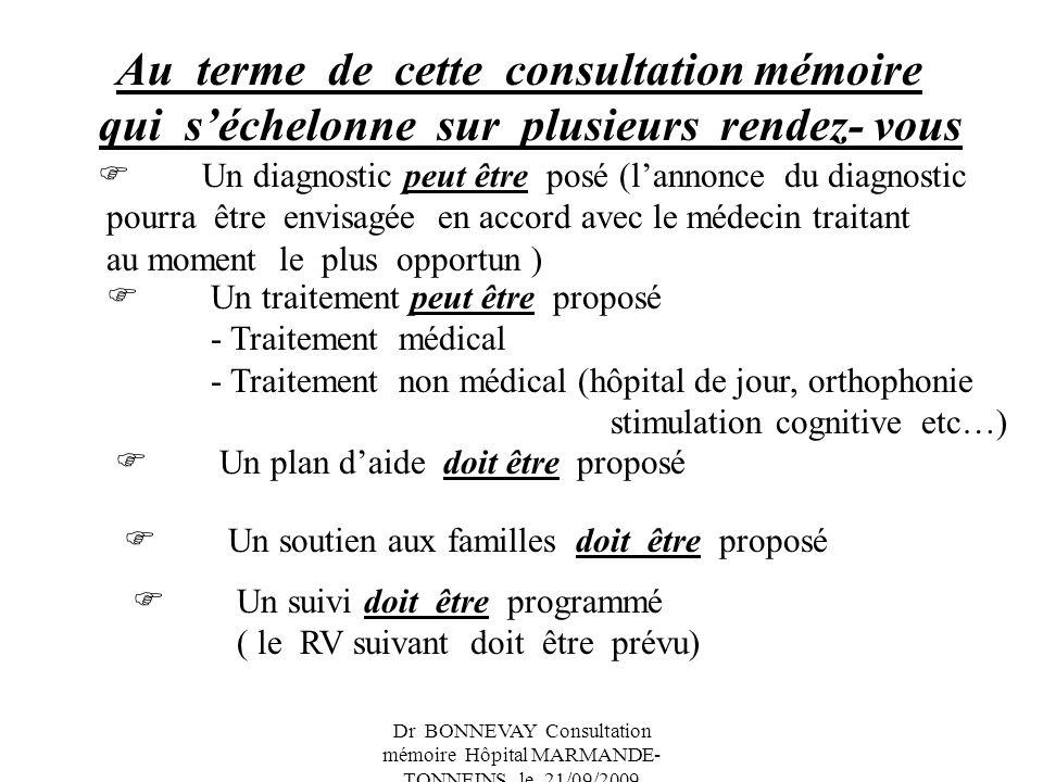 Dr BONNEVAY Consultation mémoire Hôpital MARMANDE- TONNEINS le 21/09/2009 Au terme de cette consultation mémoire qui séchelonne sur plusieurs rendez-