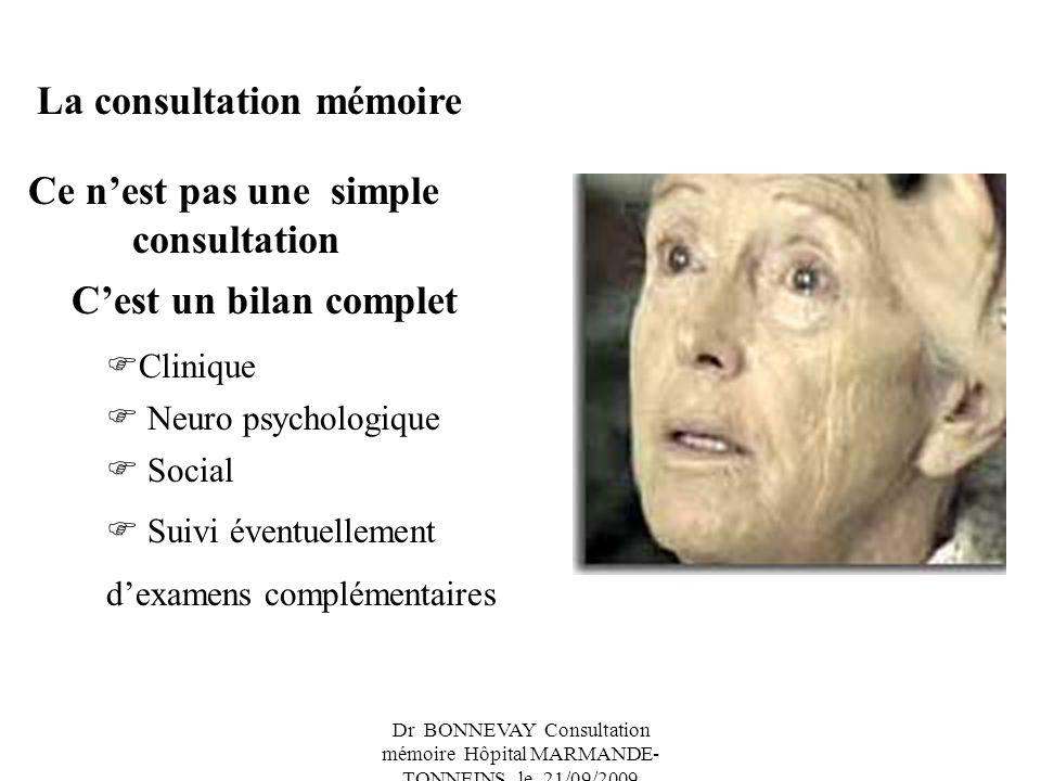 Dr BONNEVAY Consultation mémoire Hôpital MARMANDE- TONNEINS le 21/09/2009 La consultation mémoire Ce nest pas une simple consultation Cest un bilan complet Clinique Neuro psychologique Social Suivi éventuellement dexamens complémentaires