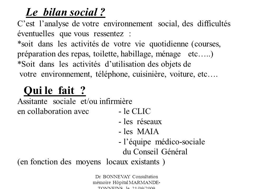 Dr BONNEVAY Consultation mémoire Hôpital MARMANDE- TONNEINS le 21/09/2009 Dans quel but .