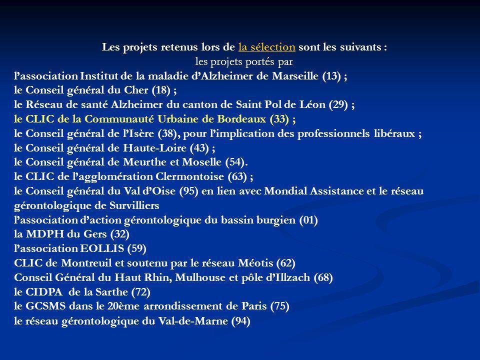 Les projets retenus lors de la sélection sont les suivants : les projets portés parla sélection lassociation Institut de la maladie dAlzheimer de Marseille (13) ; le Conseil général du Cher (18) ; le Réseau de santé Alzheimer du canton de Saint Pol de Léon (29) ; le CLIC de la Communauté Urbaine de Bordeaux (33) ; le Conseil général de lIsère (38), pour limplication des professionnels libéraux ; le Conseil général de Haute-Loire (43) ; le Conseil général de Meurthe et Moselle (54).