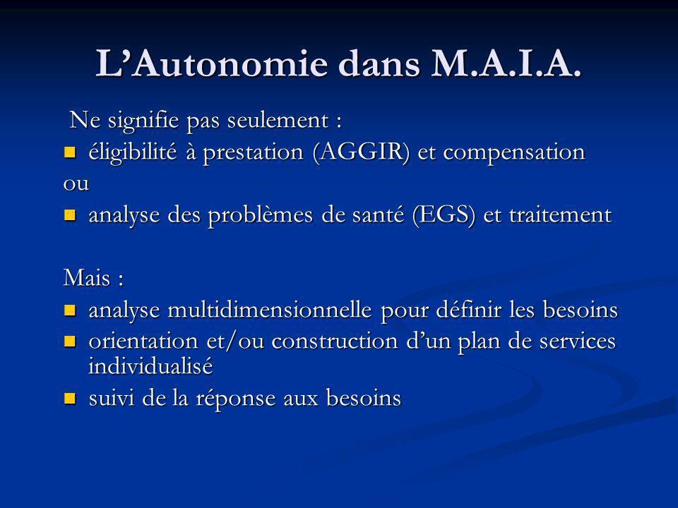 LAutonomie dans M.A.I.A.