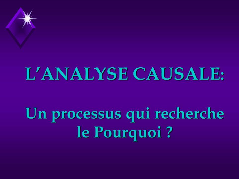 LANALYSE CAUSALE : Un processus qui recherche le Pourquoi ?