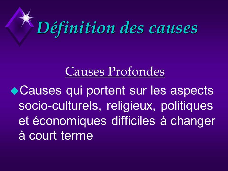 Définition des causes Causes Profondes Causes qui portent sur les aspects socio-culturels, religieux, politiques et économiques difficiles à changer à