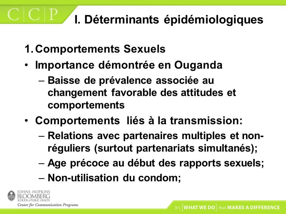 I. Déterminants épidémiologiques 1.Comportements Sexuels Importance démontrée en Ouganda –Baisse de prévalence associée au changement favorable des at