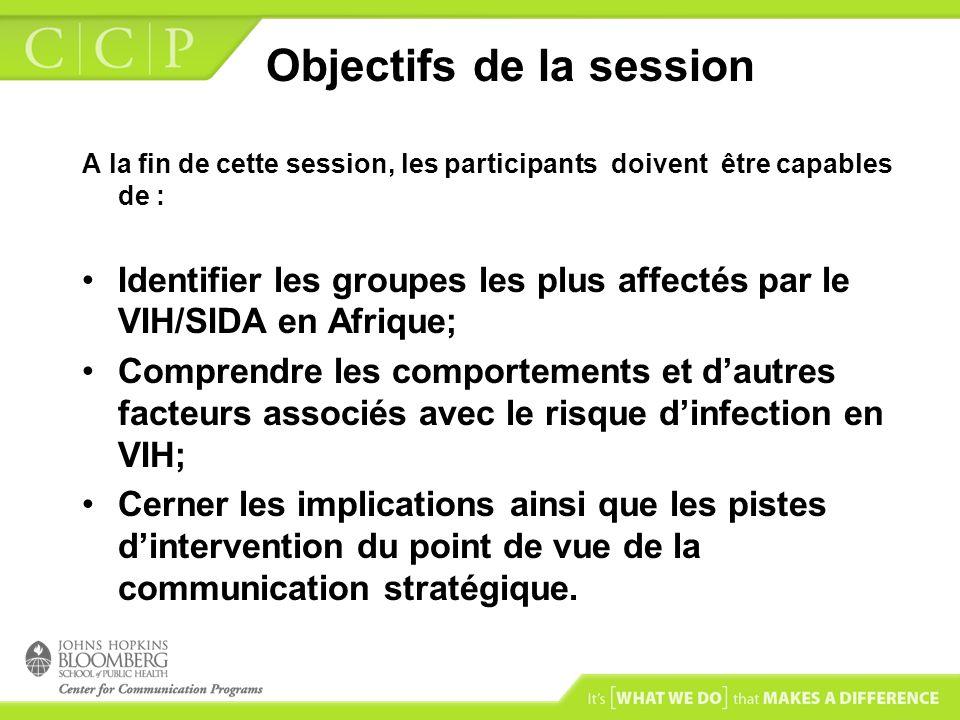 Objectifs de la session A la fin de cette session, les participants doivent être capables de : Identifier les groupes les plus affectés par le VIH/SID
