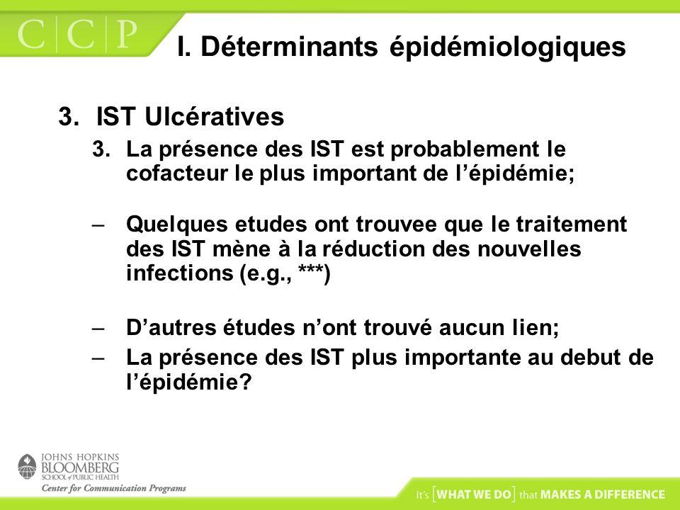 I. Déterminants épidémiologiques 3.IST Ulcératives 3.La présence des IST est probablement le cofacteur le plus important de lépidémie; –Quelques etude