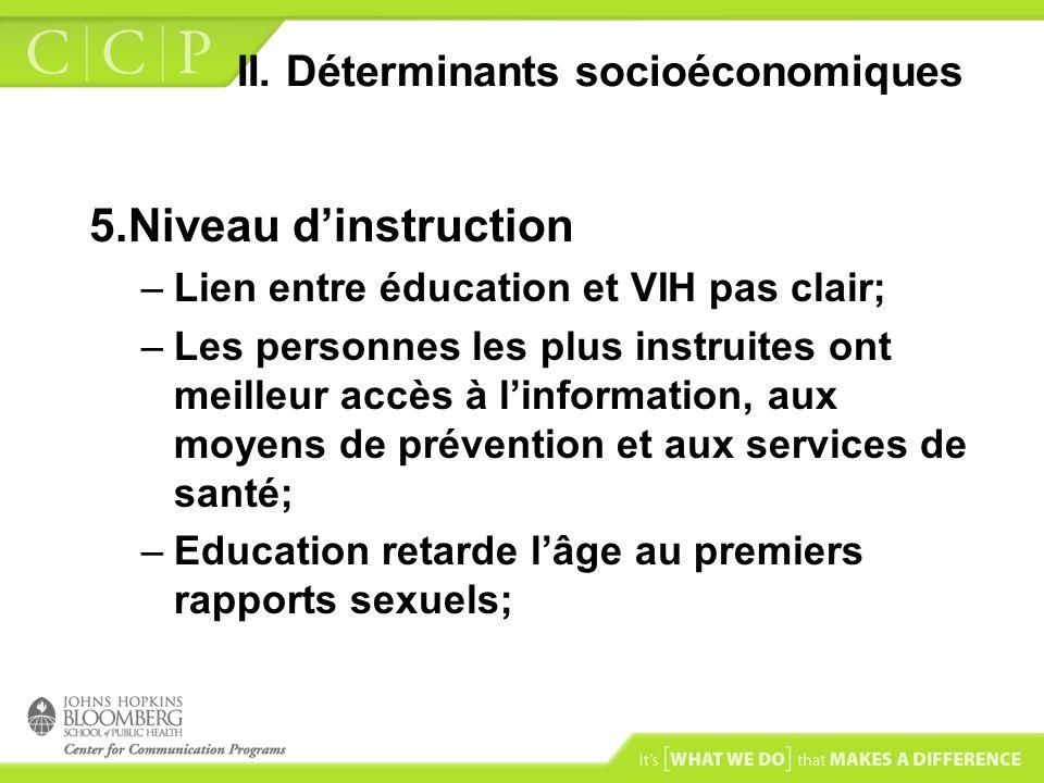 II. Déterminants socioéconomiques 5.Niveau dinstruction –Lien entre éducation et VIH pas clair; –Les personnes les plus instruites ont meilleur accès