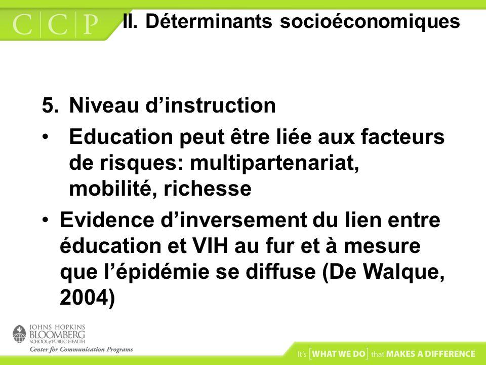 II. Déterminants socioéconomiques 5.Niveau dinstruction Education peut être liée aux facteurs de risques: multipartenariat, mobilité, richesse Evidenc