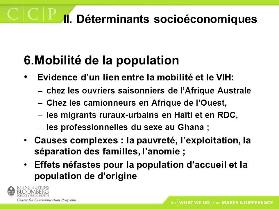 II. Déterminants socioéconomiques 6.Mobilité de la population Evidence dun lien entre la mobilité et le VIH: –chez les ouvriers saisonniers de lAfriqu