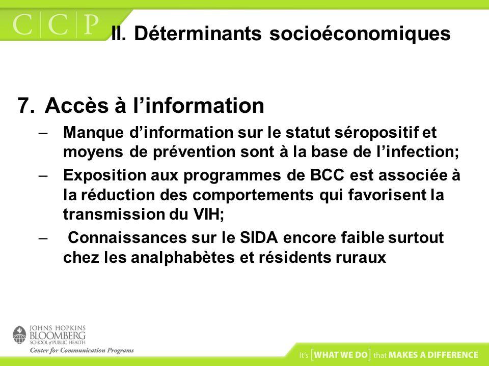 II. Déterminants socioéconomiques 7.Accès à linformation –Manque dinformation sur le statut séropositif et moyens de prévention sont à la base de linf