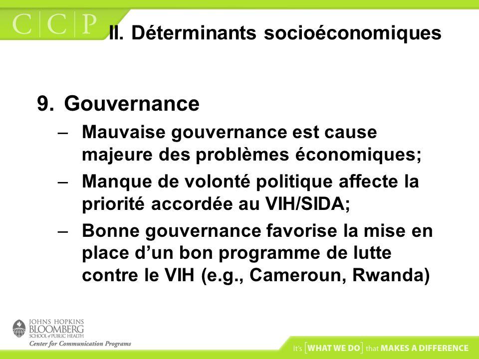 II. Déterminants socioéconomiques 9.Gouvernance –Mauvaise gouvernance est cause majeure des problèmes économiques; –Manque de volonté politique affect