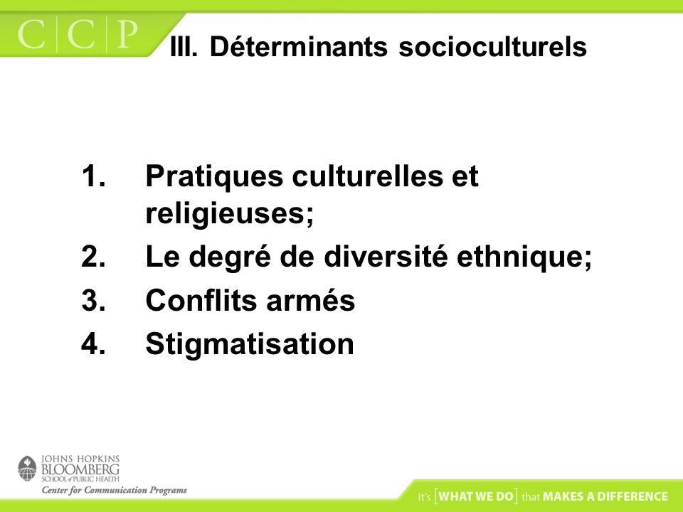 III. Déterminants socioculturels 1.Pratiques culturelles et religieuses; 2.Le degré de diversité ethnique; 3.Conflits armés 4.Stigmatisation