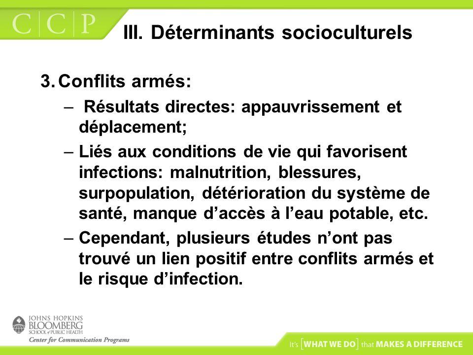 III. Déterminants socioculturels 3.Conflits armés: – Résultats directes: appauvrissement et déplacement; –Liés aux conditions de vie qui favorisent in