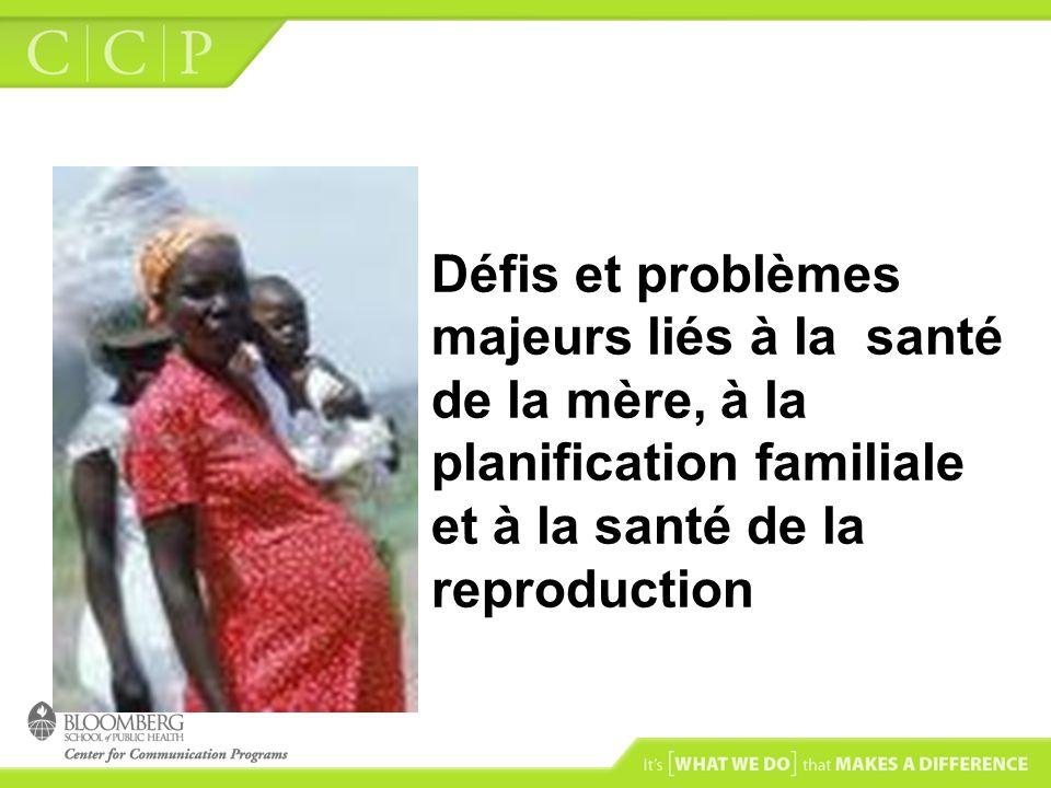 Objectifs A la fin de cette session, les participants seront capables de : –Identifier les problèmes liés à la santé de la mère, à la planification familiale (PF) et à la santé de la reproduction en Afrique francophone; –Analyser les facteurs associés à la sous utilisation de la PF et aux problèmes liés à la santé de la mère et à la santé de la reproduction dans les pays dAfrique francophone;