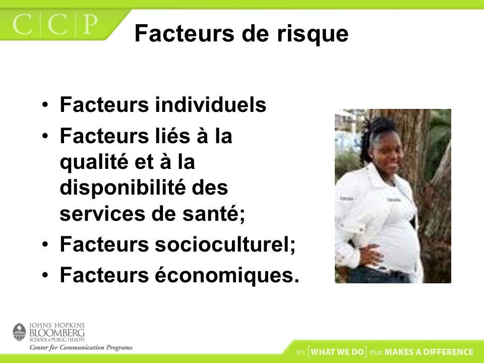 Facteurs de risque Facteurs individuels Facteurs liés à la qualité et à la disponibilité des services de santé; Facteurs socioculturel; Facteurs écono