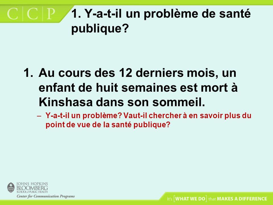 1. Y-a-t-il un problème de santé publique? 1.Au cours des 12 derniers mois, un enfant de huit semaines est mort à Kinshasa dans son sommeil. –Y-a-t-il