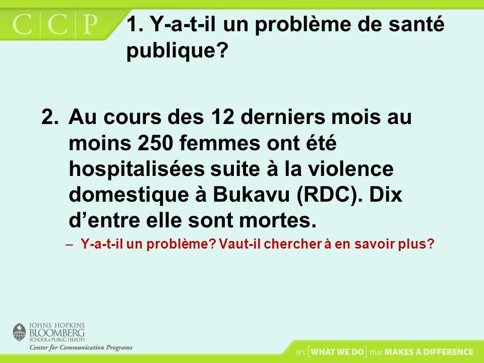 1. Y-a-t-il un problème de santé publique? 2.Au cours des 12 derniers mois au moins 250 femmes ont été hospitalisées suite à la violence domestique à