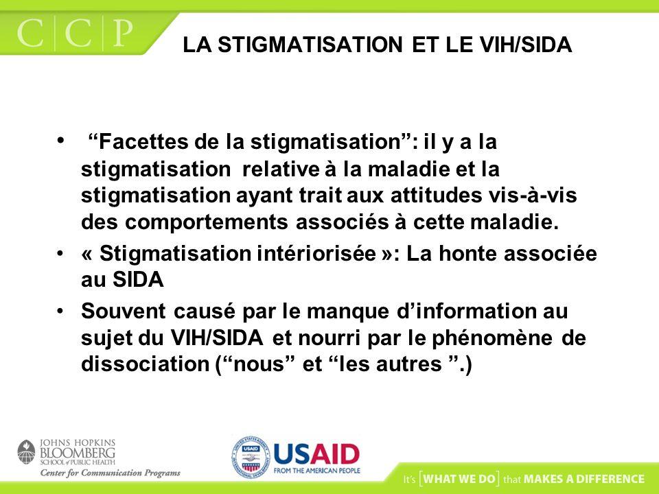 LA STIGMATISATION ET LE VIH/SIDA Facettes de la stigmatisation: il y a la stigmatisation relative à la maladie et la stigmatisation ayant trait aux at