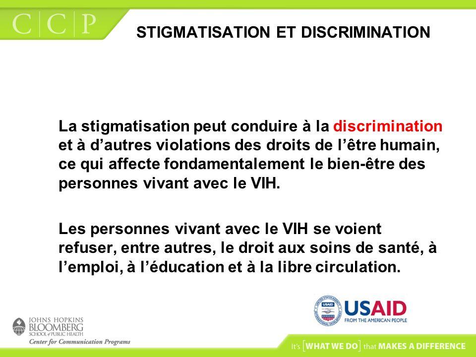 STIGMATISATION ET DISCRIMINATION La stigmatisation peut conduire à la discrimination et à dautres violations des droits de lêtre humain, ce qui affect