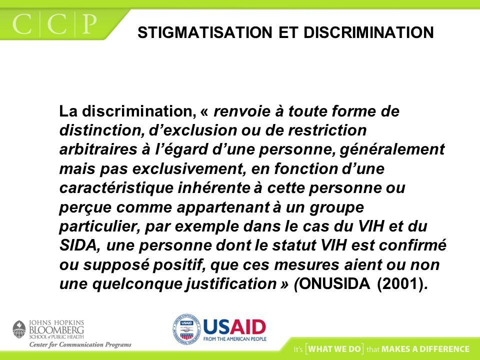 STIGMATISATION ET DISCRIMINATION La discrimination, « renvoie à toute forme de distinction, dexclusion ou de restriction arbitraires à légard dune per
