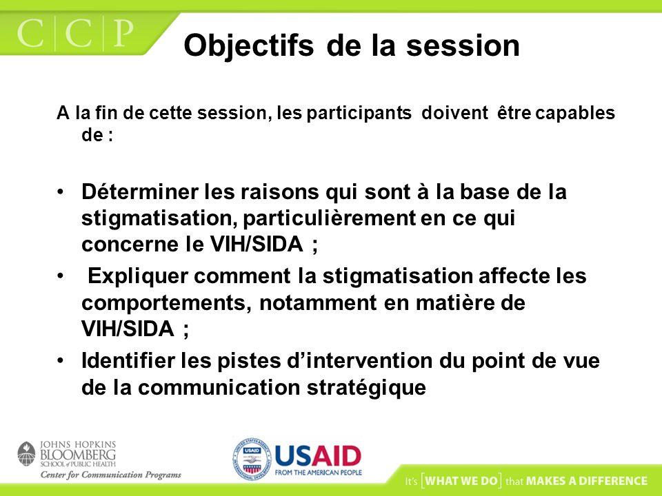 Objectifs de la session A la fin de cette session, les participants doivent être capables de : Déterminer les raisons qui sont à la base de la stigmat