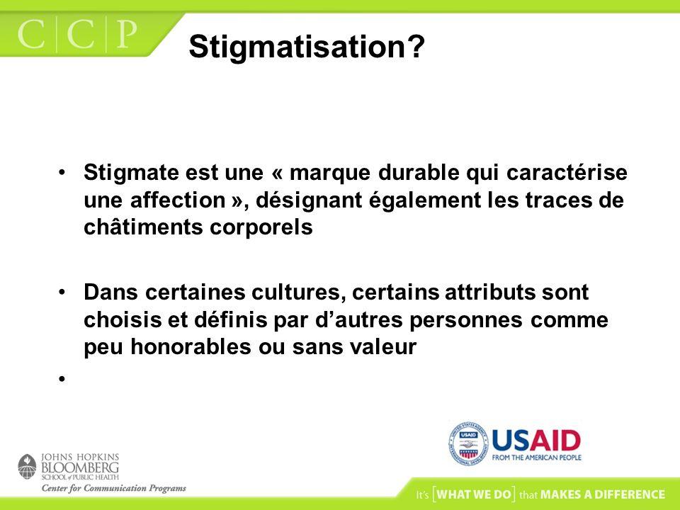 Stigmatisation? Stigmate est une « marque durable qui caractérise une affection », désignant également les traces de châtiments corporels Dans certain