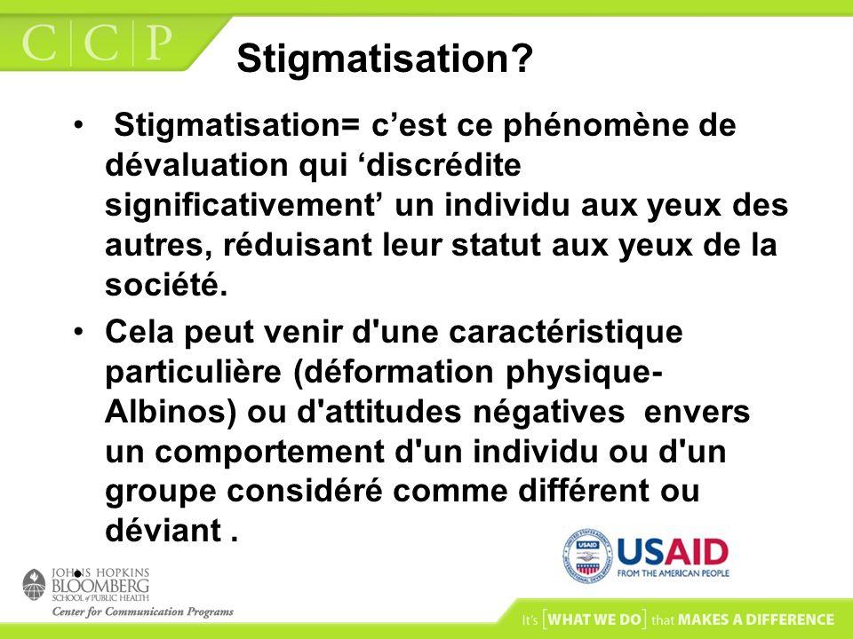 Stigmatisation? Stigmatisation= cest ce phénomène de dévaluation qui discrédite significativement un individu aux yeux des autres, réduisant leur stat