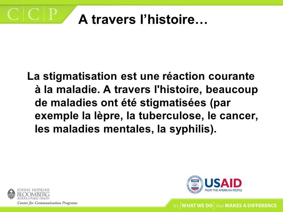 A travers lhistoire… La stigmatisation est une réaction courante à la maladie. A travers l'histoire, beaucoup de maladies ont été stigmatisées (par ex