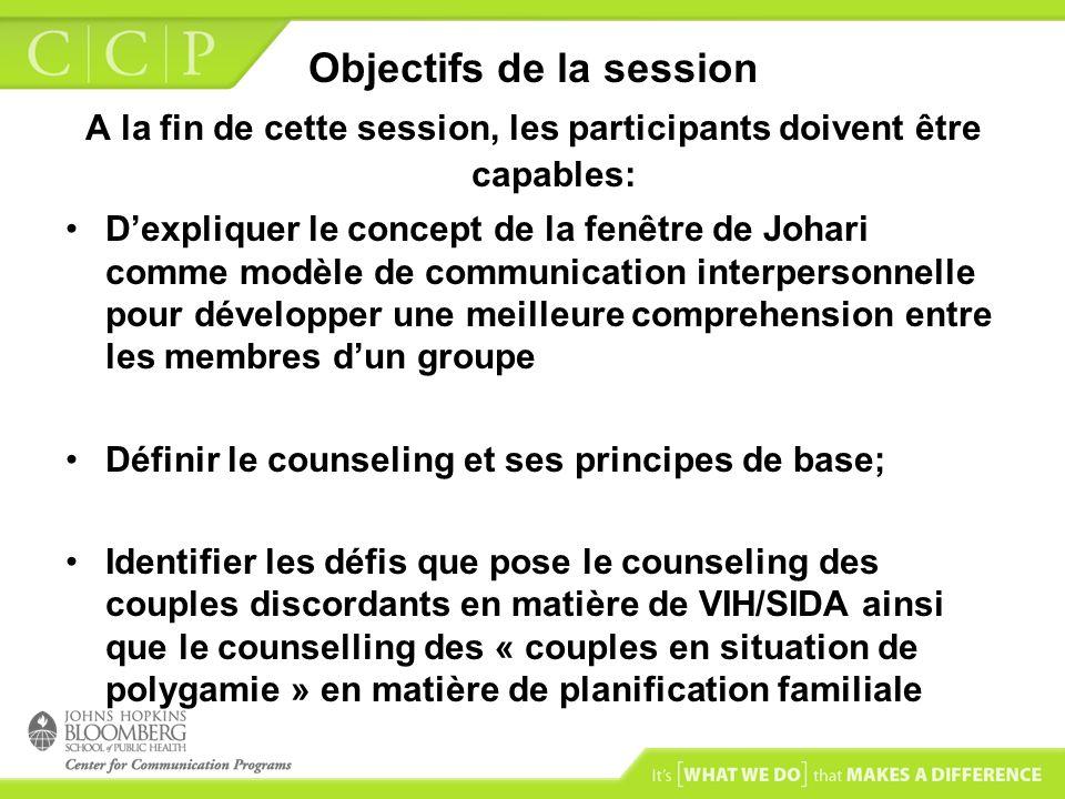 Objectifs de la session A la fin de cette session, les participants doivent être capables: Dexpliquer le concept de la fenêtre de Johari comme modèle