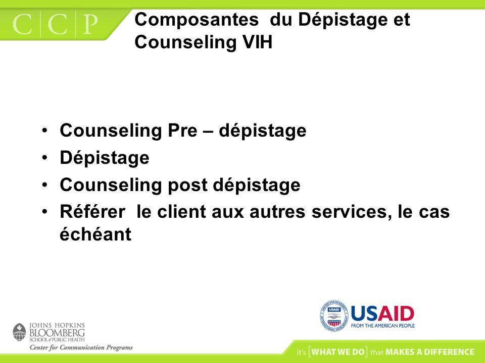 Composantes du Dépistage et Counseling VIH Counseling Pre – dépistage Dépistage Counseling post dépistage Référer le client aux autres services, le ca