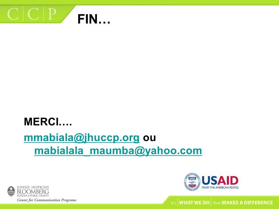FIN… MERCI…. mmabiala@jhuccp.orgmmabiala@jhuccp.org ou mabialala_maumba@yahoo.com mabialala_maumba@yahoo.com