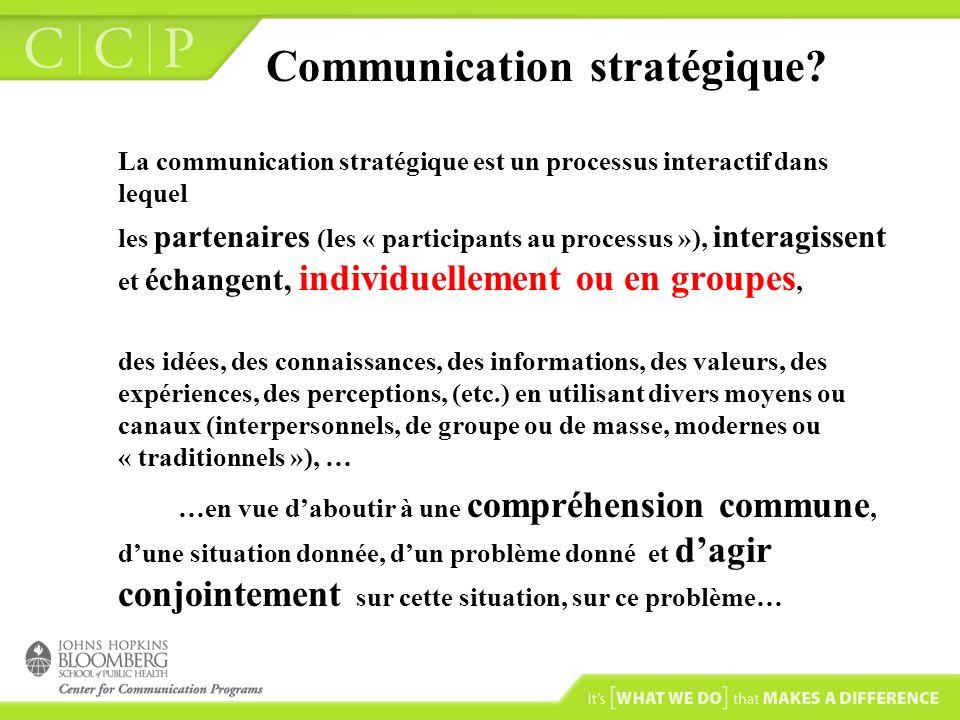 Communication stratégique? La communication stratégique est un processus interactif dans lequel les partenaires (les « participants au processus »), i