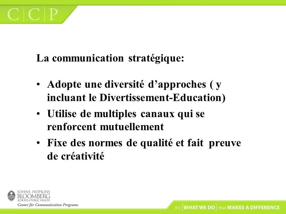 La communication stratégique: Adopte une diversité dapproches ( y incluant le Divertissement-Education) Utilise de multiples canaux qui se renforcent mutuellement Fixe des normes de qualité et fait preuve de créativité