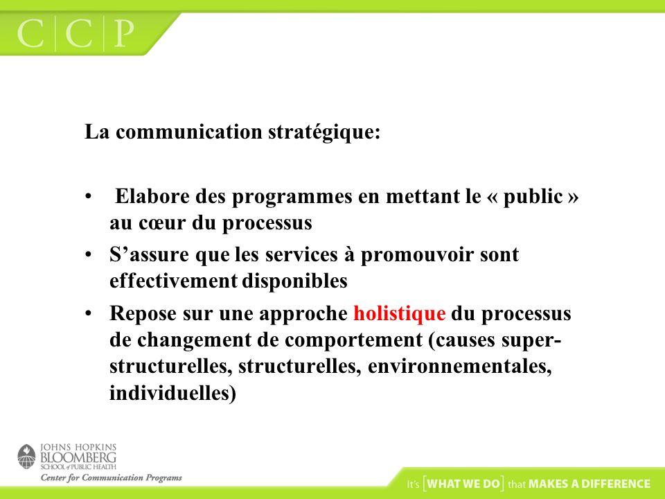La communication stratégique: Elabore des programmes en mettant le « public » au cœur du processus Sassure que les services à promouvoir sont effectivement disponibles Repose sur une approche holistique du processus de changement de comportement (causes super- structurelles, structurelles, environnementales, individuelles)