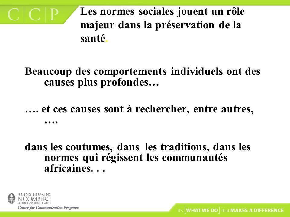 Les normes sociales jouent un rôle majeur dans la préservation de la santé. Beaucoup des comportements individuels ont des causes plus profondes… …. e