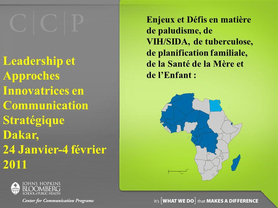 Enjeux et Défis en matière de paludisme, de VIH/SIDA, de tuberculose, de planification familiale, de la Santé de la Mère et de lEnfant : Leadership et Approches Innovatrices en Communication Stratégique Dakar, 24 Janvier-4 février 2011