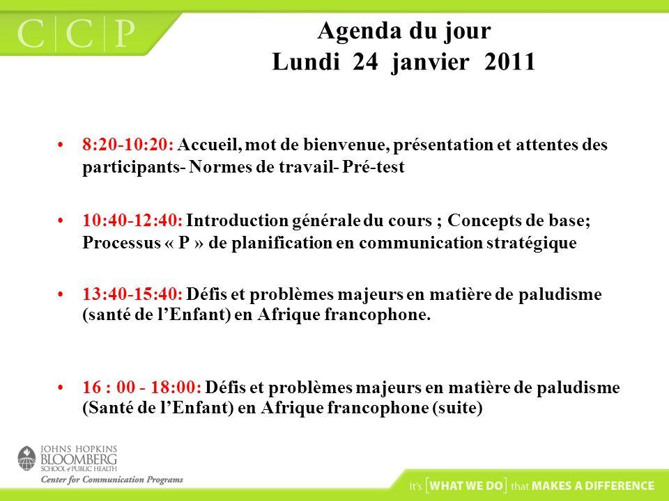 Agenda du jour Lundi 24 janvier 2011 8:20-10:20: Accueil, mot de bienvenue, présentation et attentes des participants- Normes de travail- Pré-test 10: