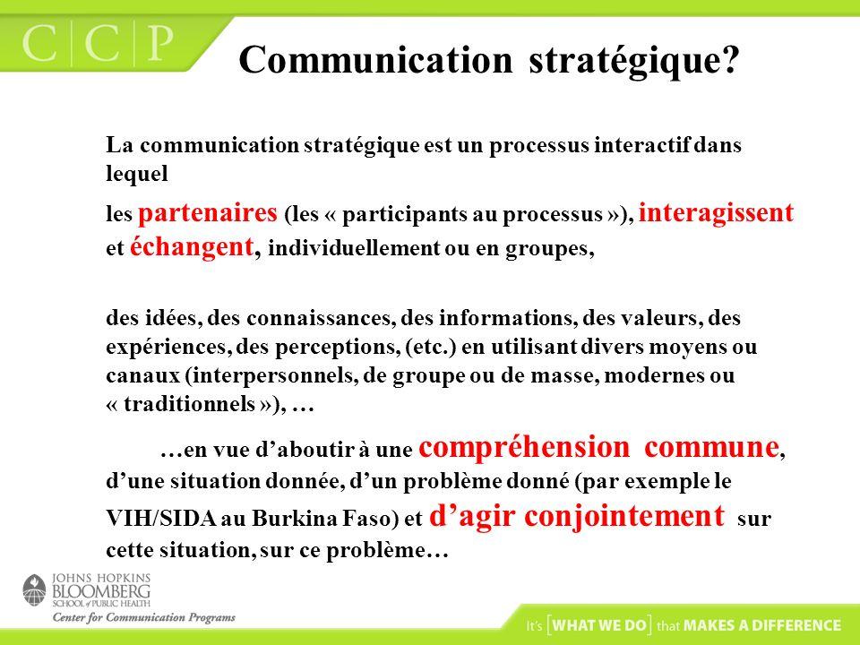 Quelques fondements de la communication stratégique … La communication stratégique repose sur une vision à long terme et affecte les causes ainsi que les barrières au changement comportemental.