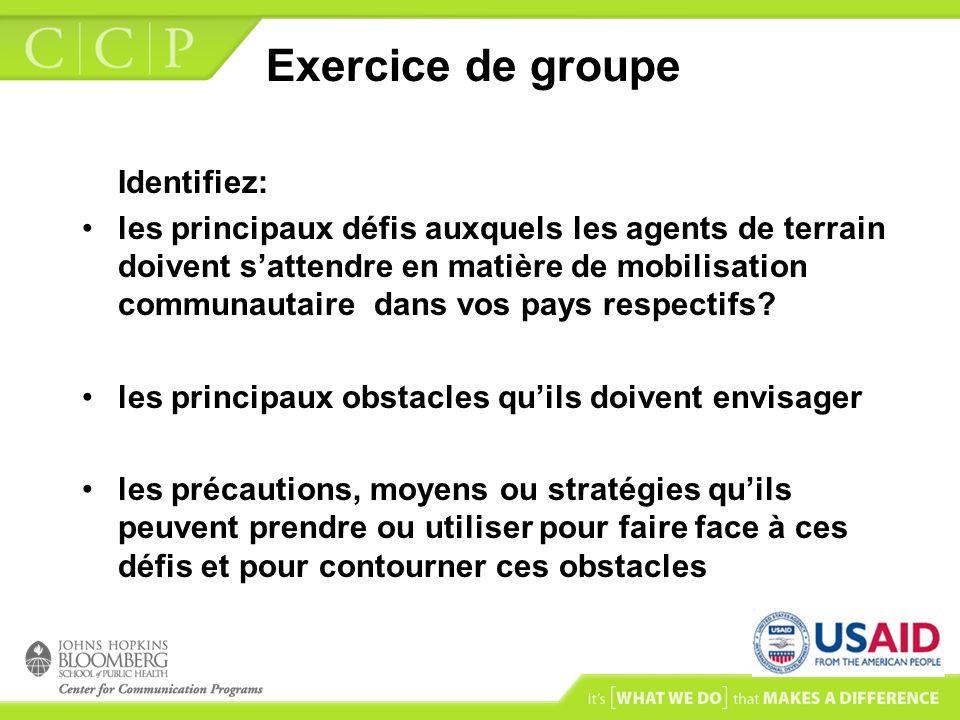 Exercice de groupe Identifiez: les principaux défis auxquels les agents de terrain doivent sattendre en matière de mobilisation communautaire dans vos