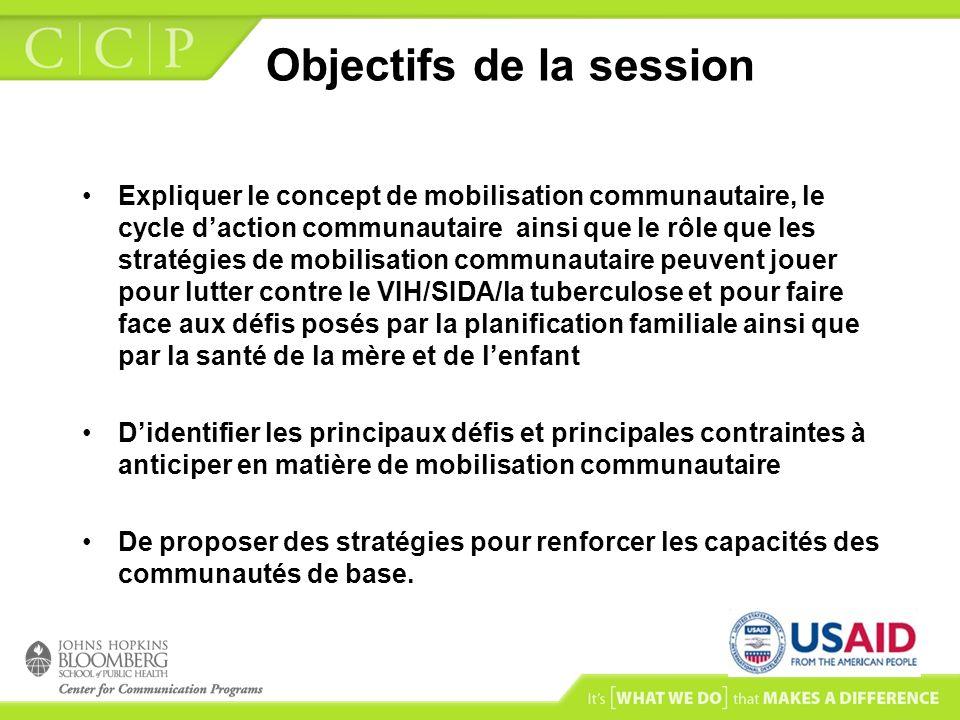 Objectifs de la session Expliquer le concept de mobilisation communautaire, le cycle daction communautaire ainsi que le rôle que les stratégies de mob