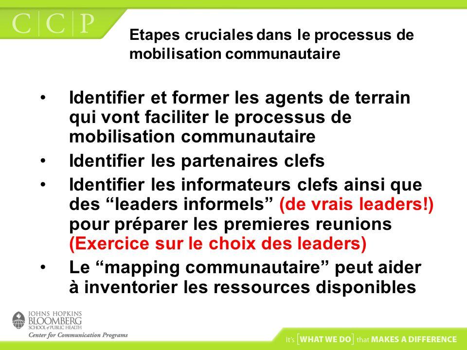 Etapes cruciales dans le processus de mobilisation communautaire Identifier et former les agents de terrain qui vont faciliter le processus de mobilis